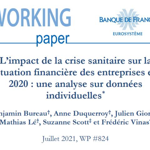 Rapport de la Banque de France sur l'impact de la crise sanitaire sur la  situation financière des entreprises en  2020