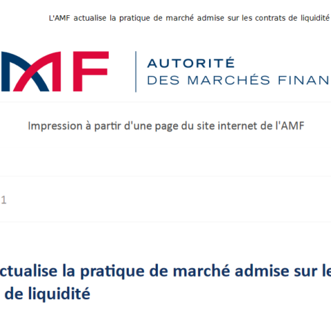 L'AMF actualise la pratique de marché admise sur les contrats de liquidité